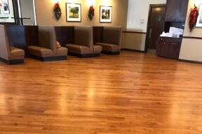 chicago restaurant with refinished hardwood floor